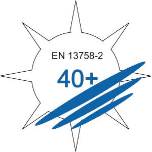 DIN EN 13758 | Schutzeigenschaften Faktor 40+ gegen ultraviolette Sonnenstrahlung