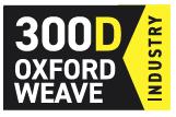 300D-Oxford Weave | Gefertigt aus robustem 300 Denier 100% Polyestergarn. Das 300D Gewebe hat beste Abriebwerte sowie eine hohe Reißfestigkeit. Außerdem kann Wasser und Schmutz nicht in das Gewebe eindringen. Die innere PU-Schicht bietet beste Atmungsaktivität und ist wasserfest.