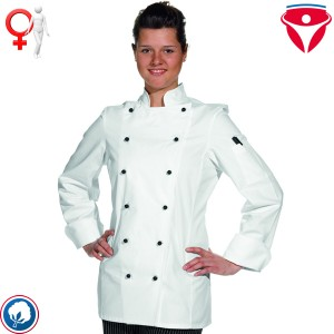 Leiber 08/572 taillierte Damen Kochjacke feminin geschnitten