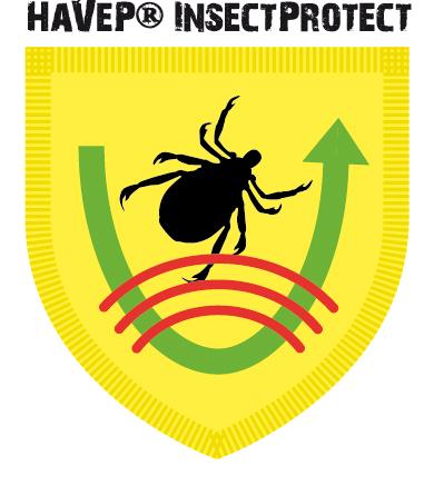 Die HaVeP® InsectProtect Kleidung, die aus Arbeitshose und Arbeitsjacke besteht, ist mit einer Permethrin-Ausrüstung versehen. Gelangt ein Insekt auf die Kleidung, verbrennt es sich sozusagen die Füße und will möglichst schnell wieder weg. Die Permethrin-Ausrüstung wirkt gegen alle Insekten wie Zecken, Mücken, rote Ameisen, Wespen usw. Permethrin ist gemäß Öko-Tex Produktklasse 2 zertifiziert und somit unschädlich für Mensch und Umwelt. HaVeP® InsectProtect genügt dem Bundeswehr-Test nach TL8305: Nach 100fachem Waschen bei 60°C enthält die Kleidung noch immer die doppelte Menge