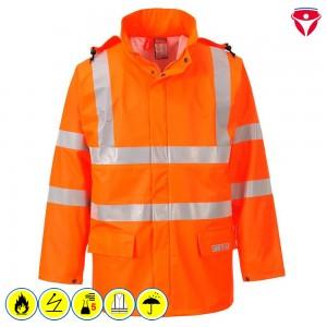 Flammhemmende Warnschutz Regenjacke FR41