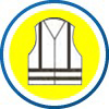 EN ISO 20471 ehemals EN 471 - Für Arbeiten im Straßen- und Werksverkehr, um schneller und besser gesehen zu werden. Jacken, Westen, Hemden, Mäntel und Überwürfe müssen als Hintergrundfarbe eine Warnfarbe (warngelb, warnorange bzw. warnrot) haben. Sie müssen zwei horizontale Reflexstreifen um den Rumpf mit einem Abstand von 50 mm aufweisen. Der Abstand zwischen dem Saum des Bekleidungsstückes zur unteren Kante des unteren Reflexstreifens muss ebenfalls mindestens 50 mm betragen. Eine Neigung der Reflexstreifen von ± 20° ist möglich. Lange Ärmel und Hosenbeine müssen zwei Reflexstreifen mit eine